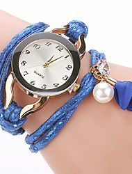 Women's Bracelet Watch Cubic Zirconia Pearl Casual Elegant White Blue Brown Stainless Steel PU Leather Quartz White Blue Brown Casual Watch Imitation Diamond 1 pc Analog One Year Battery Life