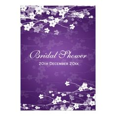 20 Fill in Cards with Twenty White Envelopes by AmandaCreation Amanda Creation Watercolor Deep Violet and Lilac Floral Bridal Shower Invitations