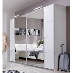 Davos Sliding Robe Wardrobe in Alpine White With Lights 734794