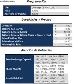 Precio de entradas : EMELEC vs. Liga de Quito (16 de Diciembre 2012)
