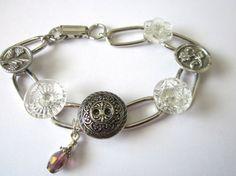 Antique button bracelet with 1800s Victorian era buttons, silver links