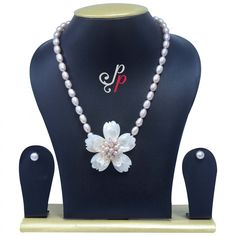 Pretty Dark Pink Pearl Necklace in Mother of Pearl Pendant