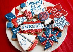 Red, White and Blue 4th of July Cookies in Polka Dots & Swirls