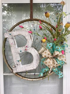 Bicycle Rim wreath I made - Bicycle Wheel Decor, Bicycle Art, Bicycle Rims, Bicycle Crafts, Bike Craft, Wreath Crafts, Diy Wreath, Monogram Wreath, Wreath Ideas