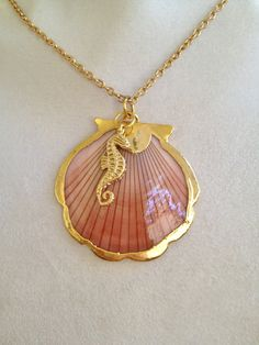 Gold Wrapped Shell and Seahorse Necklace