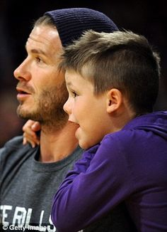 David Beckham shares a tender moment with his youngest son as they bond over a basketball game