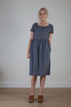 Indigo striped linen button up dress from Pyne & Smith