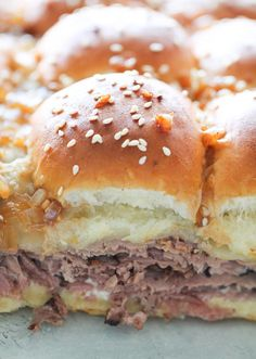 French Dip Sliders Recipe – Six Sisters' Stuff | These French Dip Sliders are the perfect weeknight meal or game day snack! With buttery rolls, creamy horseradish sauce, juicy roast beef and melted cheese you can't go wrong!