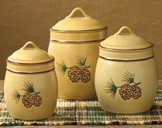 Pinecone Bluff Canister Set - 3 pcs - CLEARANCE.   $59.95