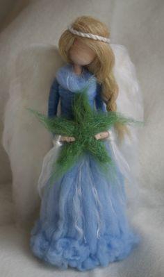 Ángel de la Navidad árbol Topper aguja de fieltro
