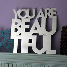 You Are Beautiful Mirror by MixedMangos on Etsy from MixedMangos on Etsy. Saved to home decor. Mirrors Unusual, Beautiful Mirrors, You Are Beautiful, Positive Body Image, Teen Girl Rooms, You Are My Sunshine, Light Painting, Wall Decor, Etsy