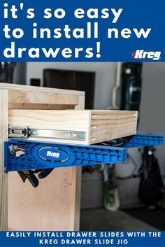 The Drawer Slide Jig takes the guesswork out of installing drawer slides. This easy-to use jig holds slides in position as you drill mounting holes in the cabinet, and it supports drawer boxes while…MoreMore Learn Woodworking, Woodworking Crafts, Woodworking Plans, Woodworking Jigsaw, Woodworking Joints, Woodworking Workshop, Woodworking Logo, Woodworking Patterns, Woodworking Education