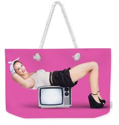 Pink Weekender Tote Bag featuring the photograph Retro Housewife by Jorgo Photography - Wall Art Gallery Ladies Accessories, Fashion Accessories, Weekender Tote, Tote Bag, Retro Housewife, Bag Sale, Pin Up, Art Gallery, Shoulder Bag