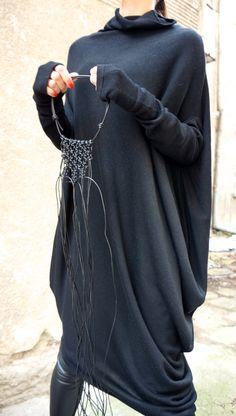 NEW Oversize ANGORA Black Loose Dress / Asymmetric Raglan Extra Long Sleeves Tunic / Fully Knit Top / Maxi Blouse Turtle neck Top A02201 (99.00 USD) by Aakasha