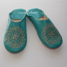 Sunflower Moroccan Slipper Sky by SabatiniCollection on Etsy, $19.95