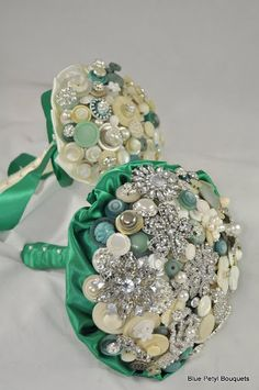 Jeweled Crystal Button Bouquet with matching bridesmaid bouquet #WeddingBouquet #BroochBouquet