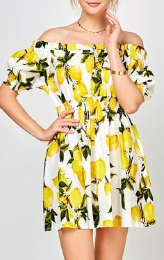 6b4d10280e5 FLASH SALE❗️Lemon print off the shoulder dress! Fun and flirty print that s  perfect for summer. Frilly DressesCasual DressesSummer DressesWhite ...