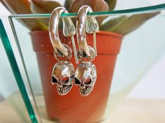 Unique Handcraft Men Silver Wound Stitched Skull Charm End Bone Hoop Earrings,Wound Skull Earring,Halloween Gift,Skull Earring,Gifts For Him by Supsilver on Etsy