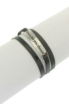 "HauteLook Leila  ""Live a Life You Choose"" Leather Wrap Bracelet $27"