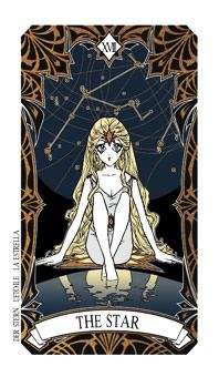 """October 22 Tarot Card: The Star (Magic Manga deck) """"A star can never die. It just turns into a smile and melts back into the cosmic music, the dance of life."""" ~ Michael Jackson"""