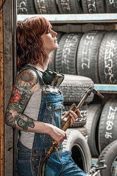 Woman with tattoos holding welding torch stock photo © Ron Sumners (sumners) ( Welder Tattoo, Welding Women, Woman Mechanic, Welding Torch, Bmw Autos, Audi, Graphic Design Software, Rockabilly Fashion, Metal Artwork
