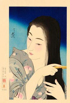 Combing her hair (Kamisuki, 1933), FINE ART PRINT, bijin-ga, portrait of beautiful japanese woman, high quality digitally restored reproduction of the very rare vintage japanese woodblock print. Is a reproduction of great masterwork by Torii Kotondo (1900 - 1976), 20th century artist, the master of Japanese woodblock art. All fine art prints produced on large wide-format printer, using archival pigment inks, providing the vibrant colors and ultimate image quality. Materials: acid free…
