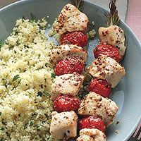 chicken on rosemary skewers by Rachael Ray. Love the idea of using rosemary as the skewer!