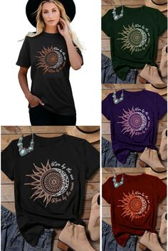 Live By The Sun, Love By The Moon Ladies Casual Tee  Cotton Stretch Blend Cool Short Sleeve, Comfortable Round Neck Available in 5 Delicious Colors  Our   Site: www.workingwhatnot.com Moon, T Shirts For Women, Tees, Colors, Lady, Sleeve, Casual, Fashion, Manga