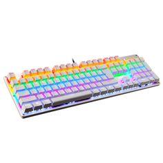 Amazon.com: LINGBAO JIGUANSHI Gaming Keyboard 87 Keys Computer Wired USB Backlit Metal Panels Mechanical Keyboard(Mixed Light, Silver Bezel, White Cap, Black Switches): Computers & Accessories