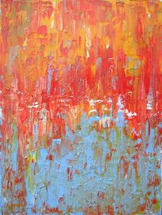 Original abstract painting acrylic on canvas 41cm x 30cm by Paul Lewis - red/orange/sky blue/white. £95.00, via Etsy.
