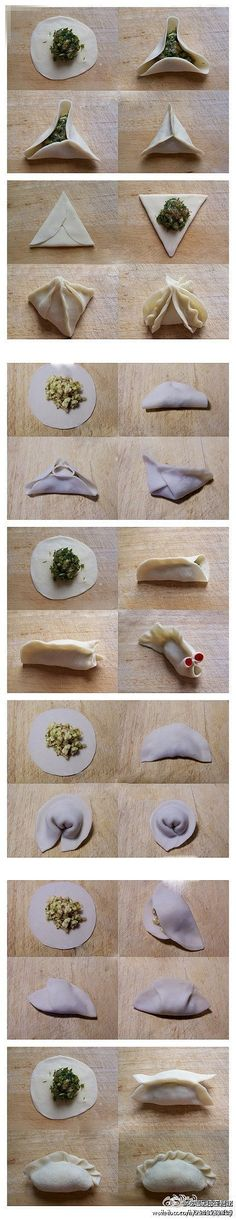 7 kinds of ways to fold dumplings  i love the koi fish way :)
