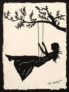 """Girl on a Swing - Original Papercut Art - tina tarnoff: """"The world is my playground, and life is pushing my swing.""""  This is an original Papercut, an art form in which an entire image is hand-cut from a single sheet of paper. The artwork is mounted on beautiful, Indian cotton rag paper, then displayed on a sturdy 11"""" x 14"""" black mat. It's ready to be placed into a frame, if so desired. Each piece includes a unique certificate of authenticity.  This is an original artwork, not a print. Each…"""