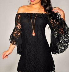 Boho Gypsy Black or Cream Off On Shoulder Lace BIG Bell Sleeve Ladies Dress S-3X #Velzera #LaceDress #SummerBeach
