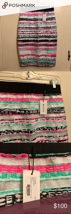 Milly Neon Couture Illusion Stripe Midi Skirt Sz 6 Amazing skirt from high-end designer Milly. The style is the Couture Illusion Stripe Midi Skirt. The jacquard fabric is woven with neon pink, green, black and white with alternating sheet white stripes. The skirt has a banded stretch waistband and an exposed back zipper. Brand new with tags. Size 6. 39% nylon, 37% paper yarn, 16% viscose and 8% metallicized polyester and a polyester lining. Comes from a smoke and pet free home. Milly Skirts…