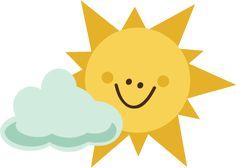 Sun With Cloud SVG file for scrapbooking sun svg file cloud svg file cute sun cut file