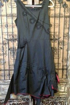 French Lagenlook Mermaid Dress Black Red Uneven Asymmetrical Ruffle Hem Dress  #L33 #Mermaid #LittleBlackDress