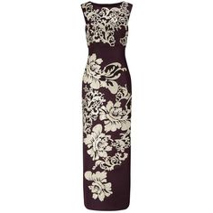 Phase Eight Collection 8 Doris Embroidered Maxi Dress, Aubergine ($385) ❤ liked on Polyvore featuring dresses, gowns, empire waist evening dresses, purple cocktail dresses, purple evening gowns, floral evening dresses and floor length evening gowns