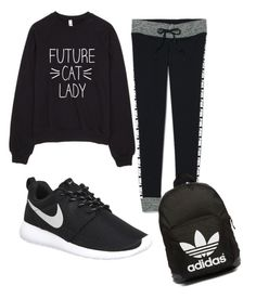 """""""Monday outfit"""" by jennisa-penner on Polyvore featuring Victoria's Secret, NIKE, adidas Originals, women's clothing, women, female, woman, misses and juniors"""