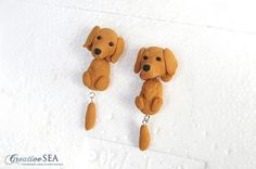 Golden Retriever earrings by seandreea on DeviantArt Hanging Earrings, My Works, Gingerbread Cookies, Polymer Clay, Teddy Bear, Deviantart, Creative, Artwork, Crafts