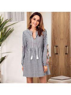 4926a351d267 Dresswel Women Long Sleeve V Neck Floral Embroidery Striped Mini Dress