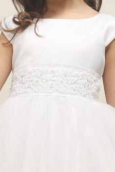First Communion - love the little cap sleeves an detail at waist
