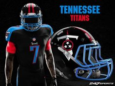 """With the buzz around the total solar eclipse that will been seen across the United States today, the guys over at 247 Sports decided to create """"blackout"""" uniforms for every NFL team in light of the spectacle, no pun intended. Football Fans, Football Jerseys, Football Helmets, Football Stuff, Ohio State Helmet, Blackout Game, Nfl Titans, Tennessee Titans Football, Nfl Uniforms"""