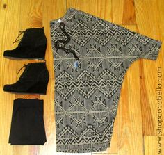 Need a comfy outfit for the weekend?? Try our new Global Print Tunic by papillon paired with our black beaded wing necklace by Turkish Delight Jewelry and some thick Nikibiki leggings to keep you warm! Add your favorite little black booties and you have a perfect casual outfit for the weekend! #nikibiki #leggings #aztec #papillon #tunic #booties #turkishdelight #cocobellagirl #shopcocobella #ootd #outfitoftheday #comfy #casual #fashion #fallfashion www.shopcocobella.com