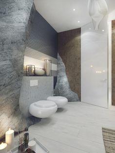 salle de bains de luxe avec bidet suspendu wc et bougies en tant que déco