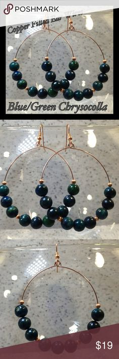 Genuine Chrysocolla & Copper Beaded Hoop Earrings These hoop earrings are made with a beautiful selection of semi-precious gemstone chrysocolla beads & copper filled spacer beads & ear wires. Hoops are copper-plated. Stones are mostly dark green with shades of deep blue. Handcrafted by me. Fantastic boho chic style!  Chrysocolla is believed to: Remove negativity and promote harmony & hope.  Jewelry items are priced firm as a single purchase due to material cost & Poshmark fees. Why not…