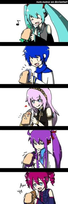 I love it how Luka has the creepy toast but wtf teto why are you eating a bread sandwich?!??!