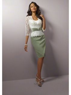 A-line Band Skirt Lace Jacket Knee-length Satin Mother Of the Bride Dresses