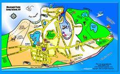 Street Map of Montauk Montauk Beach, Montauk Point, Montauk Restaurants, Ny Map, Bay Lake, State Parks, Image Search, Printables