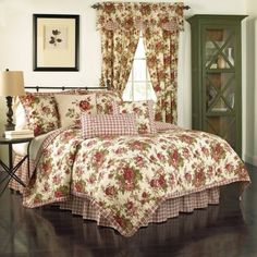 USE THE BEIGE CABBAGE ROSE ONE I HAVE ADD THE PLAID