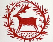 4 x Deer Garland Christmas Cards pack